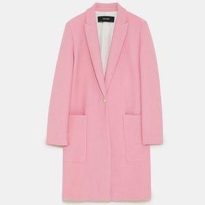 Zara   Pink Textured Weave Coat